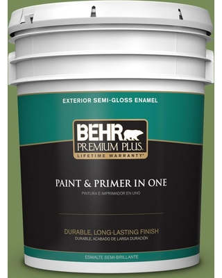 BEHR Premium Plus 5 gal. #MQ6-52 Lucky Clover Semi-Gloss Enamel Exterior Paint and Primer in One