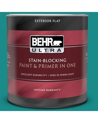 BEHR ULTRA 1 qt. Home Decorators Collection #HDC-FL13-12 Taos Turquoise Flat Exterior Paint and Primer