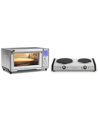 """Cuisinart TOB-260N1 Chef's Convection Toaster Oven, Stainless Steel & Cast-Iron Double Burner, 11.5""""(L) x 19.5""""(W) x 2.5""""(H), Silver"""