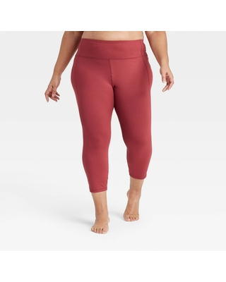 """Women's Plus Size Simplicity Mid-Rise Capri Leggings 20"""" - All in Motion Cranberry 4X, Red"""
