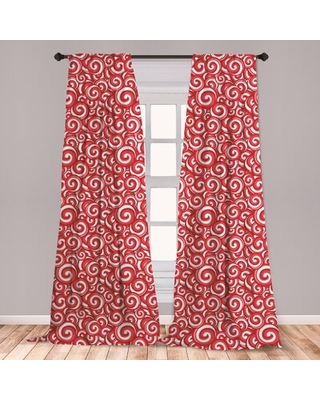 Ambesonne Candy Window Curtains, Spiral Motifs Pattern With Doodle Style Christmas Theme Illustration, Lightweight Decorative Panels Set Of 2 With Rod