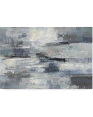 """Wrought Studio 'Clear Water Indigo and Gray' Acrylic Painting Print on Wrapped Canvas WRSE0228 Size: 12"""" H x 19"""" W x 2"""" D"""