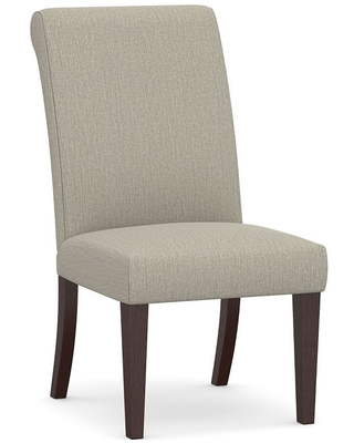 PB Comfort Roll Upholstered Dining Side Chair, Espresso Frame, Chenille Basketweave Pebble