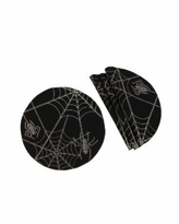 Manor Luxe Halloween Spider Web Double Layer Placemats - Set of 4 - Black