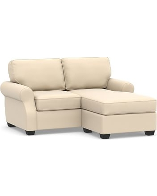 SoMa Fremont Roll Arm Upholstered Sofa with Reversible Chaise Sectional, Polyester Wrapped Cushions, Performance Everydayvelvet(TM) Buckwheat