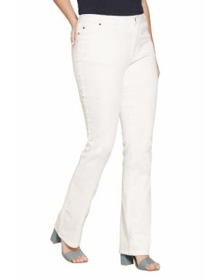 Plus Size Women's Bootcut Jean With Invisible Stretch by Denim 24/7 in White Denim (Size 24 T)