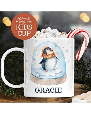 Personalized Christmas Cup with Kids Name Cute Penguin Snow Globe Unbreakable Child's Mug | Dishwasher Safe | BPA and Melamine Free