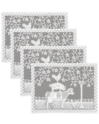 Heritage Lace Farmhouse 20 in. x 14 in. Whites Polyester Placemats (Set of 4)