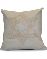 """The Holiday Aisle Hanukkah 2016 Decorative Holiday Geometric Throw Pillow HLDY6592 Size: 18"""" H x 18"""" W x 2"""" D, Color: Cream / Off White"""