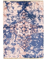 Hand-knotted Jules Ushak Navy Blue, Pink Rug - 5'7 x 7'7 (Navy Blue, Pink - 5'7 x 7'7)