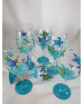 Hand Painted Wine Glass with Ocean Sea Turtles