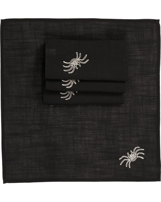 Xia Home Fashions 0.1 in. H x 20 in. W x 20 in. D Happy Halloween Napkins in Black (Set of 4)