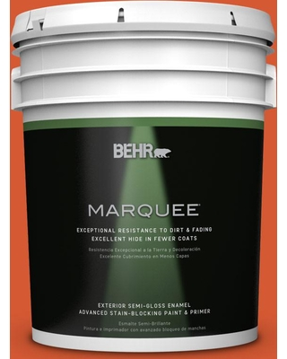 BEHR MARQUEE 5 gal. #S-G-220 Sweet Mandarin Semi-Gloss Enamel Exterior Paint and Primer in One