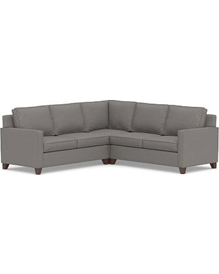Cameron Square Arm Upholstered 3-Piece L-Shaped Corner Sectional, Polyester Wrapped Cushions, Performance Chateau Basketweave Blue