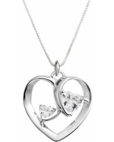 Timeless Sterling Silver Cubic Zirconia Two Hearts One Love Pendant, Women's, Grey