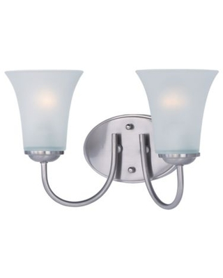 Logan 2-Light Wall-Mount Vanity Light in Satin Nickel with Frosted Glass Shades