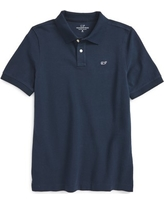 Boy's Vineyard Vines Classic Pique Cotton Polo, Size L (16) - Blue