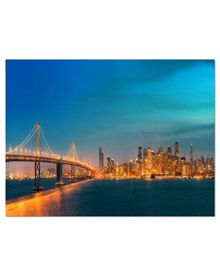 """Design Art San Francisco Skyline at Night Cityscape Photographic Print on Wrapped Canvas Size: 20"""" H x 40"""" W x 1"""" D Format: Wrapped Canvas"""