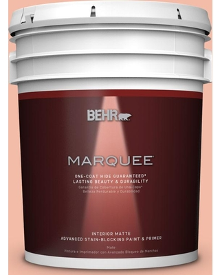 BEHR MARQUEE 5 gal. Home Decorators Collection #hdc-CT-14A Sunkissed Apricot Matte Interior Paint & Primer, Oranges/Peaches