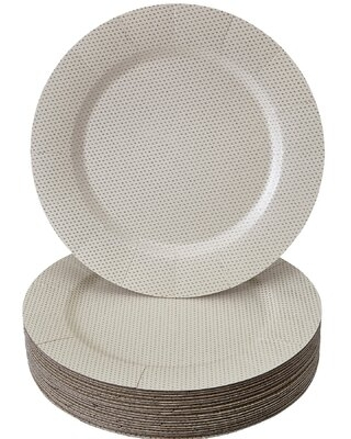 Round Heavy Weight Paper Disposable Charger Plate Silver Spoons