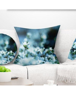 Shop Deals For East Urban Home Flowers On Background Floral Pillow Product Type Throw Pillow Polyester Polyfill Polyester Polyester Blend In Blue White Wayfair