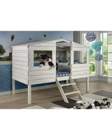 Twin Tree House Low Loft Bed in Rustic Sand - Donco 1380TLRS