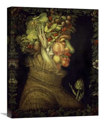 """Global Gallery 'Summer' by Giuseppe Arcimboldo Painting Print on Wrapped Canvas GCS-276565-22-142 / GCS-276565-30-142 Size: 22"""" H x 17.73"""" W x 1.5"""" D"""