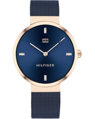 Tommy Hilfiger Women's Blue Stainless Steel Mesh Bracelet Watch 35mm, Created for Macy's