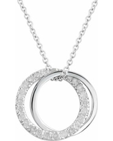 Two Hearts Forever One 1/4 Carat T.W. Diamond Sterling Silver Double Circle Pendant Necklace, Women's, White