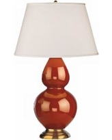 """Robert Abbey 31"""" Cinnamon Brown Ceramic and Brass Table Lamp"""
