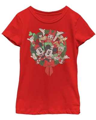 Disney Mickey Mouse Friends Wreath Youth Girls T-Shirt