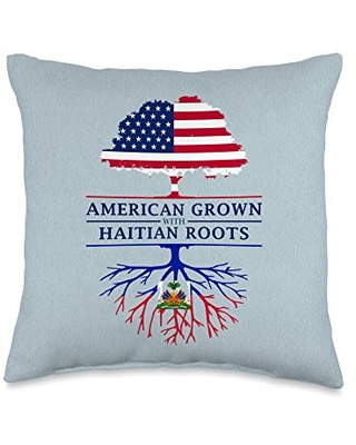 Family Heritage Gifts American Grown with Haitian Roots - Haiti Throw Pillow, 16x16, Multicolor