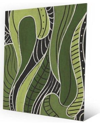 "Click Wall Art Tribal Motions Green Painting Print on Plaque CBS0002132MTL Size: 14"" H x 11"" W x 1"" D"