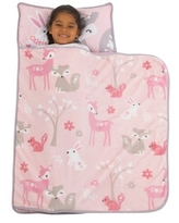 Everything Kids Pink and Grey Fox Toddler Nap Mat with Pillow and Blanket