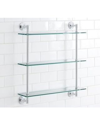 Spectacular Deal on Mercer Triple Glass Shelf, Chrome finish