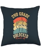 Back To School Apparel.USA 2nd Grade Level Unlocked Video Game Kid Back to School Gamer Throw Pillow, 18x18, Multicolor