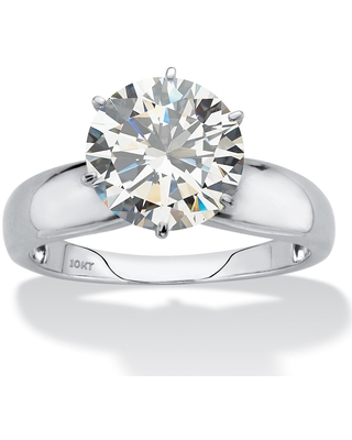 10K White Gold Cubic Zirconia Solitaire Engagement Ring (9)