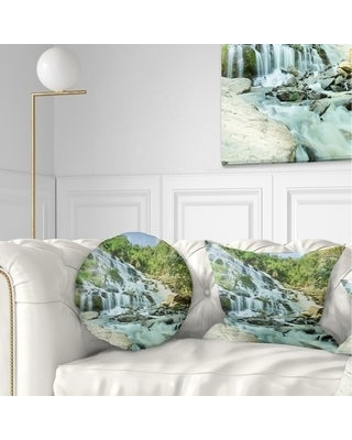 Don T Miss Sales On Designart Maeyar Waterfall Landscape Photography Throw Pillow Rectangle 12 In X 20 In Medium