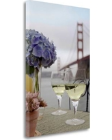 """Tangletown Fine Art 'Dream Cafe Golden Gate Bridge - 4' Photographic Print on Wrapped Canvas ICABSFH293-1624c Size: 32"""" H x 21"""" W"""