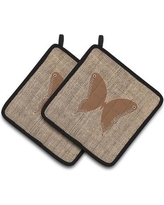 East Urban Home Butterfly Black Trim Gray Potholder EAAS4458 Color: Brown
