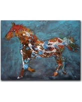 "HadleyHouseCo Speckled Pony by Jeff Boutin Painting Print on Wrapped Canvas 370061 Size: 18"" H x 24"" W x 1.5"" D"