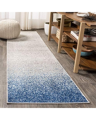 JONATHAN Y Shore Modern Gradient Blue/Cream 2 ft. x 8 ft. Runner Rug, Vintage, Easy Cleaning, For Bedroom, Kitchen, Living Room, Non Shedding
