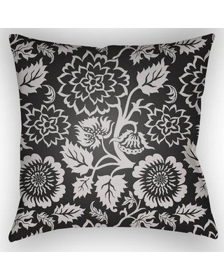 "August Grove Lyda Indoor /Outdoor Throw Pillow W001223064 Size: 18"" H x 18"" W x 1"" D Color: Black"