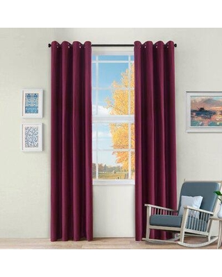 """Charlton Home Jenifry Solid Color Blackout Thermal Grommet Curtain W001258406 Size per Panel: 52"""" W x 108"""" L Curtain Color: Mulberry"""