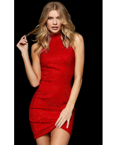 Milanoo Charming With Homecoming Dress Short Sheath Halter Sequins Polyester Red Bodycon Party Dress