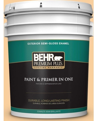 BEHR PREMIUM PLUS 5 gal. #310C-3 Warm Cocoon Semi-Gloss Enamel Exterior Paint and Primer in One