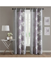"""Ally Floral Printed Curtain Panel - Purple/Grey (50""""x84"""")"""