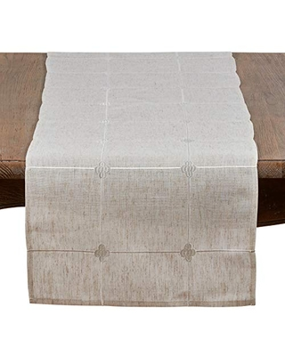 """SARO LIFESTYLE Natural Color Embroidered Check Table Runner-16 x72 Oblong, 16"""" x 72"""""""