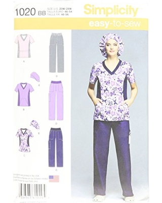 Simplicity Easy-to-Sew Pattern 1020 Women's Scrub Top, Pants and Hat Sizes 20W-28W