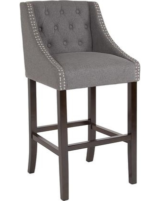 """CH-182020-T-30-DKGY-F-GG Carmel Series 30"""" High Transitional Tufted Walnut Barstool with Accent Nail Trim in Dark Gray"""